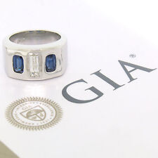 Men's HEAVY Platinum GIA Baguette Diamond & Emerald Cut Sapphire 3 Stone Ring