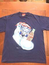 Coca-Cola Polar Bear Logo 1995 vtg S/S T-Shirt mens Xl Navy Blue soda Christmas