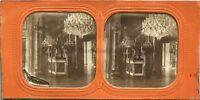 Palacio De Tullerías Estatua de La Paix Foto Estéreo Vintage Diorama Tela