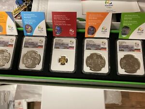 Brazil 2014 Gold/Silver 5 Coin Proof Set NGC PF70 UC Rio 2016 Olympics Series 1
