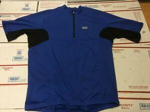 Louis Garneau 1/4 Zip Biking Cycling Jersey Mens Size XL Shirt Blue Polyester