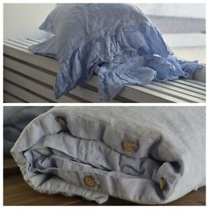 DUVET COVER set & pillow with ruffle melange blue Stone Washed Seamless full