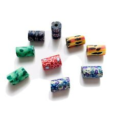9 POLYMER CLAY FIMO TUBE PATTERN BEADS 11mm