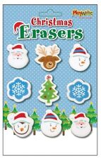 9 x Christmas Erasers Rubbers – Festive School Home Stationery Stocking Filler