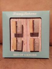 Tommy Bahama Rustic Wood Inlay DRAWER CABINET PULLS KNOBS Set Of 4 NIB Furniture