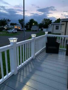 """GLASS SOLAR DECKING POST LIGHTS , IDEAL FOR STATIC CARAVAN DECKING WILL FIT A 4"""""""