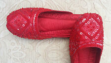RED LADIES INDIAN LEATHER BACKLESS/SLIPPER/WEDDING MULES SIZE 3