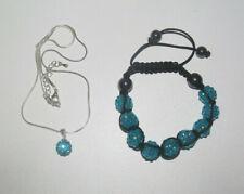 Lot Style Shamballa Bracelet + Collier Pendentif Bleu NEUF