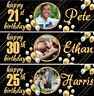 2 personalised birthday banner photo gold children adults party balloon poster