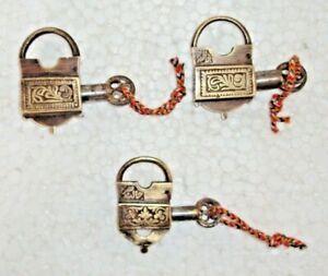 3PC. LOT RARE VINTAGE BRASS SCREW KEY PADLOCK URDU WRITTEN OLD LOCK