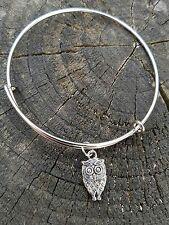 Handmade Owl Silver Charm Bangle Bracelet Hoot Feathers