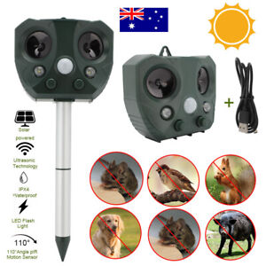 Solar Ultrasonic Pest & Animal Repeller Motion Sensor Bird Rat Possum Repellent