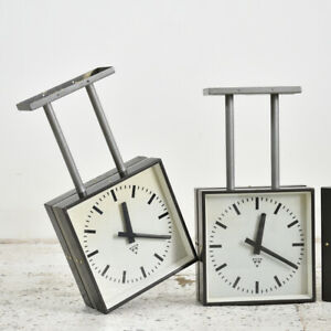 Industrial Vintage Vintage Double sided Clock By Pragotron - Small Ceiling
