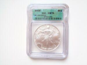 2005 American Silver Eagle Dollar Graded ICG MS 70