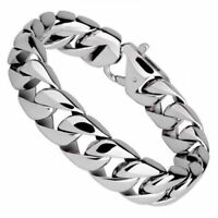 "Heavy 8.5"" Mens Stainless Steel 15mm Cuban Curb Link Chain Bracelet + Box #B114"