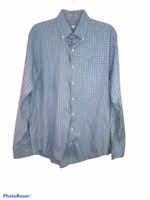 Peter Millar Mens Blue Plaid Long Sleeves Collared Button Down Shirt Size Large