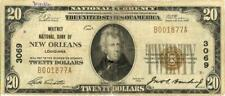 LA $20 Dollars Whitney National Bank New Orleans Currency Banknote 1929