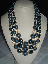 VINTAGE BLUE BEAD & CRYSTAL ACCENT 3 STRAND NECKLACE JAPAN