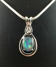 Unique Australian Triplet Opal Necklace Pendant 18ct White Gold Plated W Cert