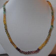 Fluorit Kugel Kette, bunte Halskette mit Fluorit Edelsteinen, glatt