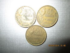 3 PIECES de 50 FRANCS 1951 1952 1953