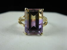 Gorgeous Estate 4ct Emerald Cut Ametrine Ladies Fine Fashion Ring