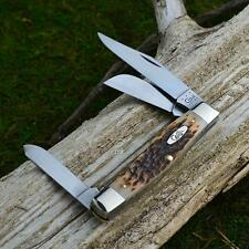 Case XX Amber Jigged Bone Jumbo Stockman Pocket Knife CV Blades 00204