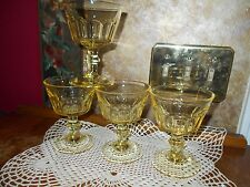 4 VINTAGE Sunflower YELLOW  DEPRESSION GLASS champagne sherbet dessert glasses