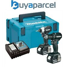 Makita 18v Kit Brushless Twin-Estate Black Martillo Perforador + Conductor De Impacto 2x 5ah