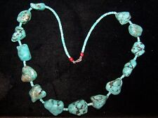 Native American  Large/Heavy Kingman Turquoise Nugget Necklace-Cathy Tenorio