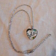 Faith Believe Heart Shape Necklace Pendant + Chain Adjustable Silvertone Multi