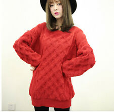 Comodo caldo maglione donna rosso lungo amplio morbido misto lana 4186