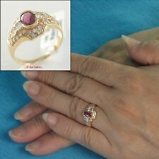 14k Yellow Solid Gold Genuine Diamonds, Natural Red Oval Ruby Cocktail Ring TPJ