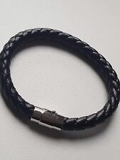 MENS REAL LEATHER BRAIDED WRISTBAND BRACELET STAINLESS STEEL CLASP