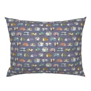 Vacation Camping Caravan Vintage Retro Holiday Camper Pillow Sham by Roostery