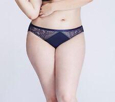 LANE BRYANT CACIQUE 22/24 Sexy Eyelash Lace Bikini Panty Navy Blue 22W 24W 2X 3X