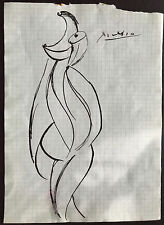 Picasso Original Pen Ink Hand Signed Drawing Fantasy Figure