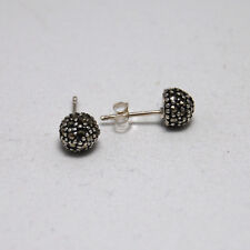 Genuine 925 Sterling Silver Vintage Style Marcasite Small Round Stud Earrings