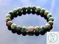 Buddha African Turquoise Natural Gemstone Bracelet 7-8'' Elasticated Healing