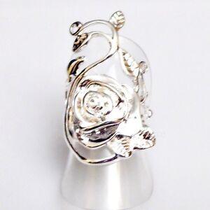 SALE schön verzierter Rosen Damen Designer Ring Silber beschichtet 17,2 mm