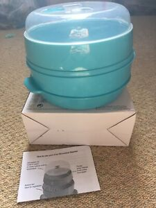 BNIB 2 TIER MICROWAVE STEAMER TURQUOISE PLASTIC STUDENT COOKING EASY MEALS