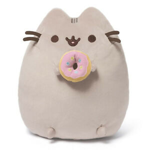 Pusheen The Cat with Donut Gund Cute Soft Plush Animal Toy 24cm **FREE DELIVERY*