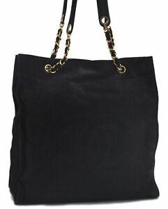 Authentic CHANEL Suede Chain Shoulder Tote Bag Black CC C6882