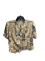 Tan jay womans size 16 shirt Top Button Down Front short sleeve Flowers
