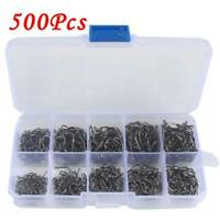 500pcs Carbon Steel Black Fish Jig Hooks with Hole Fishing Tackle Box 10 Sizes