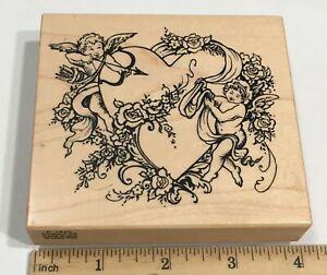 PSX Heart with Angels Cupids Love Valentine Wedding K-1420 Rubber Stamp