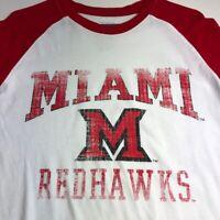 Miami Redhawks Mens Long Sleeve Graphic T Shirt Medium M Red White Logo Crewneck