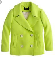 NWT J Crew Collection Wool Peacoat Jacket  $278  Bright Kiwi  Size 0