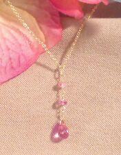 "Pink Topaz Pink Sapphire Pendant Necklace Briolette 17"" 14K Gold Authentic"