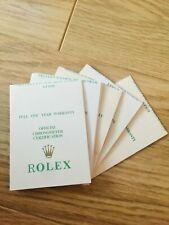 Rolex Guarantee Papers Rolex Warranty Card Rolex Warranty Card Blank 1990s